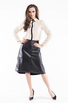 Soleil - Beżowa koszula z czarnym pasem ABK0036