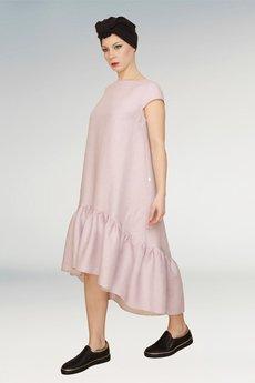Non Tess - liliowa sukienka z marszczoną falbaną
