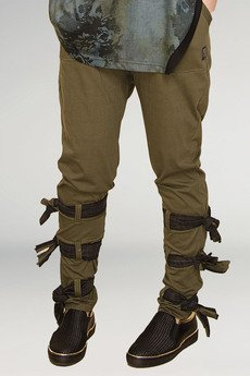 Non Tess - bawełniane spodnie z dzianiny z wiązaniami