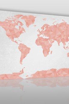 VAKU-DSGN - OBRAZ NA PŁÓTNIE - MAPA ŚWIATA GEOMETRYCZNY RÓŻA - (50302)