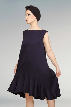 Non Tess - elegancka wełniana sukienka z falbanką z koła  XXS XXL XXXL