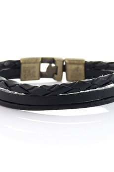 EM Men's Accessories - Męska bransoletka ze skóry z zapięciem skórzana bransoletka skórzana czarna EM 201