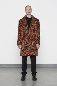 MISBHV - LEOPARD MENS WOOL COAT ORANGE