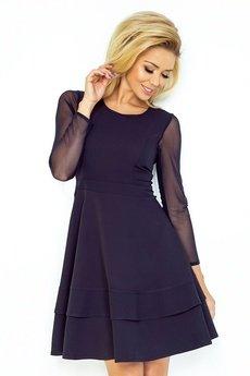 DRESSROAD - Sukienka z tiulowym rękawkiem rozkloszowana granatowy