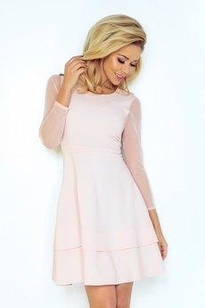 DRESSROAD - Sukienka z tiulowym rękawkiem rozkloszowana RÓŻOWY