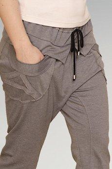 Non Tess - szare spodnie z aplikacją z obniżonym krokiem