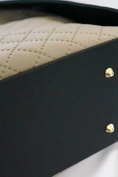 MANZANA - Torebka Manzana Klasyczna Duża Beżowa pikowana + czarna skóra