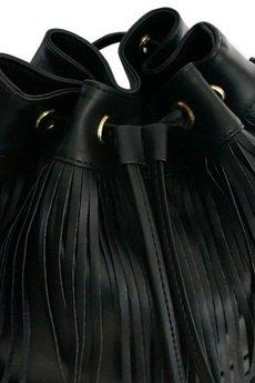 MANZANA - torebka WOREK BOHO wygodny styl - czarna frędzle 1