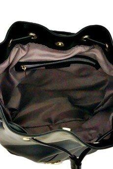 MANZANA - torebka WOREK BOHO wygodny styl - czarna frędzle 2