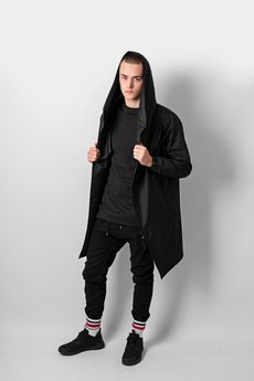 REST FACTORY - HOODIE BLACK OVERSIZE COAT