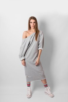 REST FACTORY - OVERSIZE NECKLINE GREY DRESS