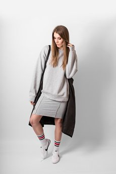 REST FACTORY - GREY PANEL MIDI SKIRT