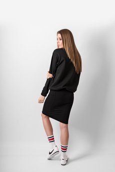 REST FACTORY - BLACK PANEL MIDI SKIRT