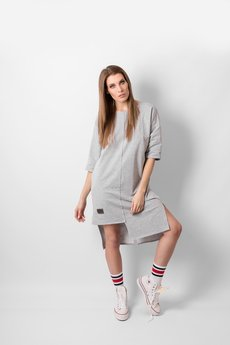 REST FACTORY - T-SHIRT GREY PANEL DRESS