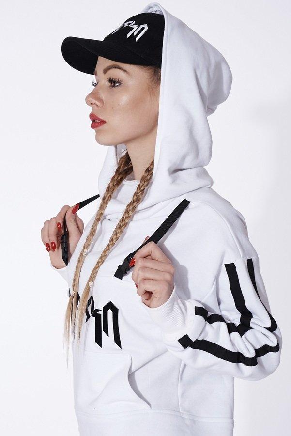 Long White Hoodie With Cut Outs Biały | Mar.Ska | Bluzy