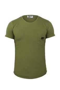 MADOX design - T-shirt zielony z kieszonką z logo męski