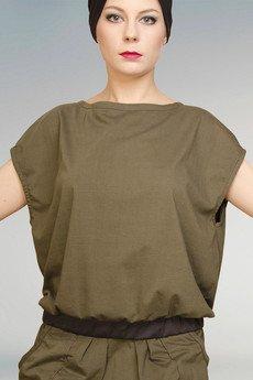 Non Tess - dzianinowy t-shirt khaki ze ściągaczem