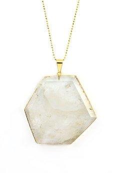 Brazi Druse Jewelry - Brazi Colare Modern Kryształ Górski złoto
