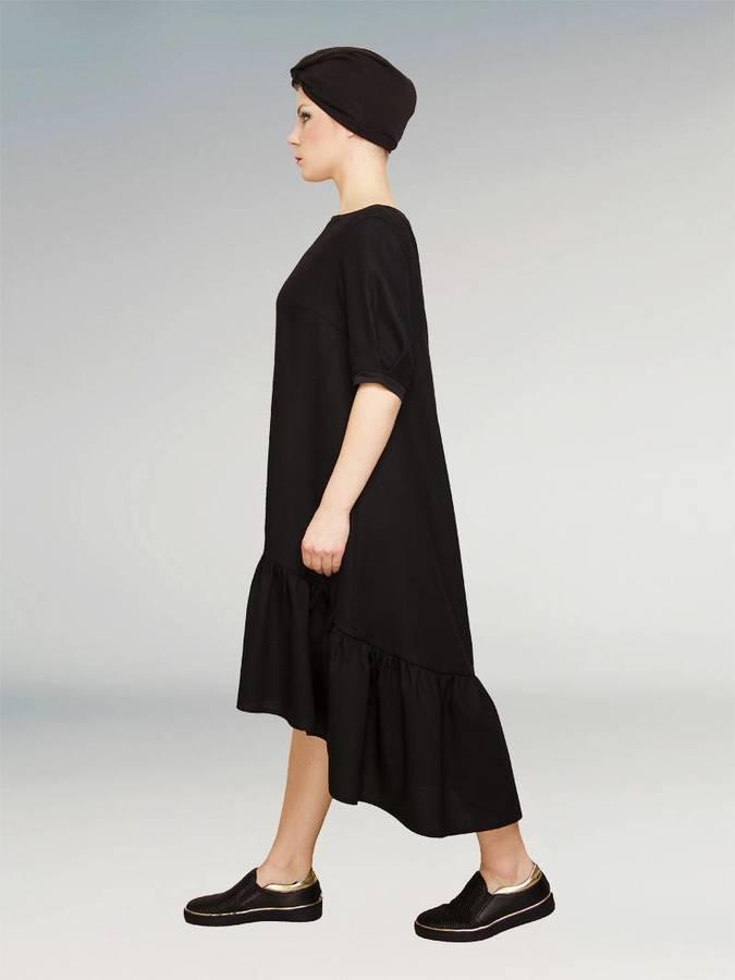 d06ce07b Mała Czarna Wełniana Sukienka Z Marszczoną Falbaną Maxi Xxxl Xxl ...