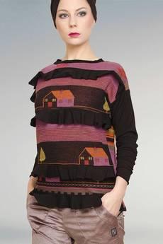 Non Tess - drukowana kolorowa bluza z falbankami