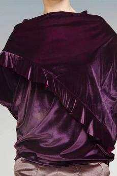 Non Tess - metaliczna bluzka z falbanką z weluru