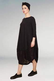 Non Tess - mała czarna sukienka z koronkową wstawką