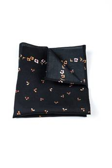r3s men's accessories - POSZETKA BAWEŁNIANA BLACK FLOWERS