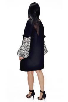 Bien Fashion - SUKIENKA Z BUFIASTYMI RĘKAWAMI WE WZORY