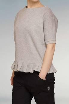 Non Tess - metaliczna srebrna bluza z falbanką