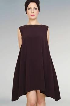 Non Tess - bordowa sukienka ze streczu z dłuzszymi bokami