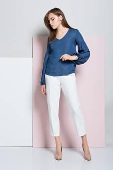 INTENSI - Bluzka z bufiastymi rękawam jeans