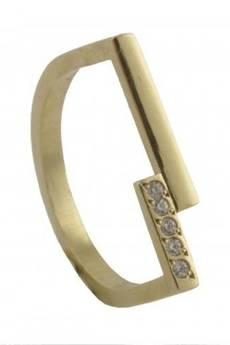 ATdiament - Srebrny pozłacany pierścionek geometryczny