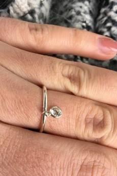 ATdiament - Srebrny pozłacany pierścionek z ruchomą cyrkonią