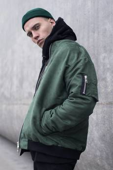 The Hive - SUEDE BOMBER JACKET IN BOTTLE GREEN L.E.