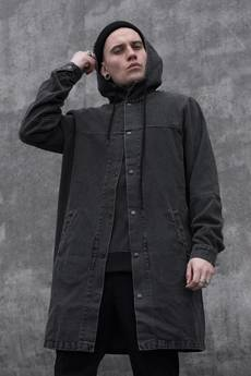 The Hive - HEAVY LONG JEANS JACKET IN WASHED BLACK