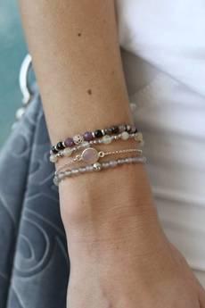 Jelly - Jelly - Złota lub srebrna bransoletka z kwarcem różowym