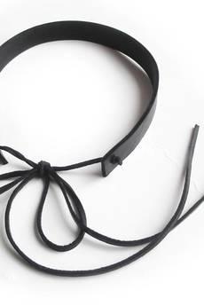 Mikashka - Choker skórzany czarny wiązany rzemyk