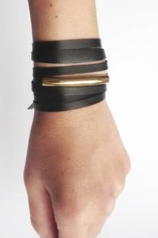 Mikashka - Choker skórzany czarny z rurką srebrną