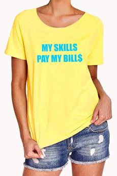 FLORAL MORAL - MY SKILLS PAY MY BILLS  blue