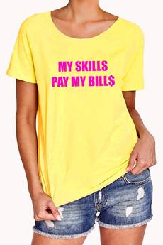 FLORAL MORAL - MY SKILLS PAY MY BILLS  pink