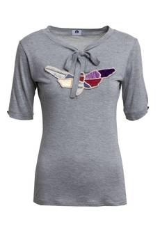 RabbitRabbit! - Szary t-shirt z patchworkiem ADA