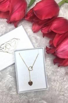 ATdiament - Srebrny pozłacany naszyjnik krawatka serce