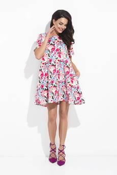 COCOVIU - phlox - różowa sukienka pikowana w kwiaty