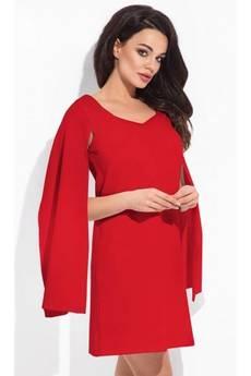 COCOVIU - New york - czerwona sukienka z rozciętymi rękawami