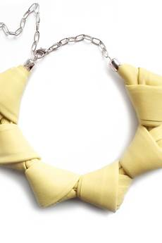 Mikashka - Naszyjnik skórzany jasny żółty LOOPed