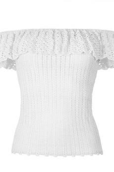 Dobrzykowska - Top szydełkowy z falbaną Selena w kolorze białym