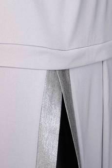 Non Tess - szara spódnica z rozcięciem i srebrną listwą