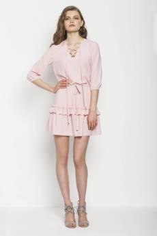 JO-LI - Sukienka z falbankami i dekoltem V