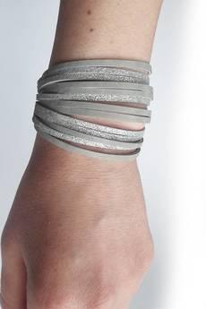 Mikashka - Bransoletka skórzana srebrna szara