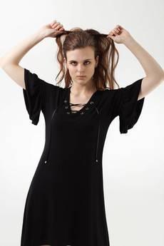 COL CLAUDINE PL - sukienka z falbanką FALBANERA